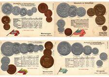 COINS MONEY NUMISMATIC 48 VINTAGE EMBOSSED POSTCARDS in SPECIAL ALBUM (L2787)