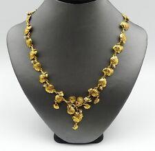 "Vintage Metropolitan Museum of art gold tone leaf necklace 18"""