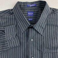 Arrow Dress Shirt Mens 16/2XL Black Gray Long Sleeve Cotton Wrinkle Free Striped