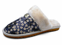 LADIES BLUE DAISY SLIP-ON FUR-LINED MULES WARM INDOOR LUXURY SLIPPERS SIZES 3-8