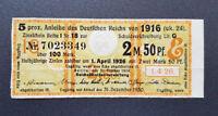 5 % Anleihe Deutschen Reichs 2,5 Mark Berlin 1916 Zinsschein Banknote Gelb (8092