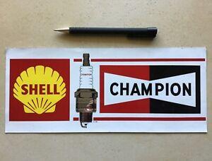 Gros autocollant sticker ancien HUILE SHELL bougie CHAMPION SPORT AUTO