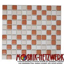 Mosaik weiß beige terracotta matt Keramikmosaik Fliesenspiegel Art:18-1311 1qm