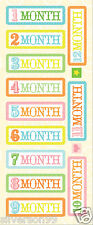 K & Company MONTH Stickers Baby's First Months Mini Ornaments/Adornos 14 Pcs.