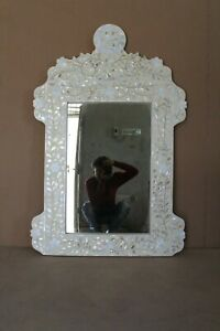 indian Mother of Pearl Floral Design Mirror White Color