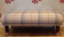 A Quality Long Footstool In Laura Ashley Highland Wool Check Seaspray Fabric