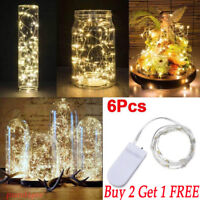 6 Pack 20 LED Micro Rice Wire Copper Fairy String White Lights Party 2M