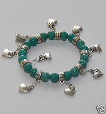 Turquoise Beads Elastic Bracelet with Lovely Heart Charms, fashion bangle