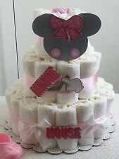 3 Tier Diaper Cake Pink Minnie Mouse Baby Shower Gift Centerpiece - Girl