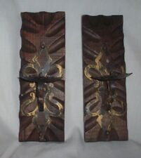 Vintage Carved Wood Pillar Candle Holders - Made In Spain
