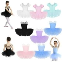 Kid Girl Dance Ballet Training Tutu Dress Mesh Splice Gym Leotard Dancewear 2-12