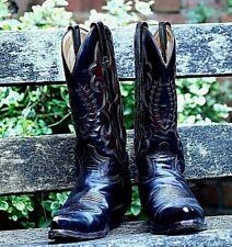 Men's SENDRA Dark Brown Burgundy Western Cowboy Biker Boots UK8 - A12