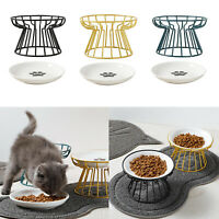 Ceramic Cat Elevated Bowls Raised Food W/ Iron Stand For Small Pet Dogs Teddy