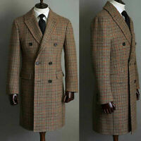 Winter Men Wool Houndstooth Overcoat Double-breasted Six Button Warm Long Coat