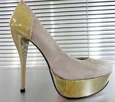 MORI MADE ITALY PLATFORM HEELS PUMPS SCHUHE SHOES LEATHER GREY GRIGIO TAUPE 45