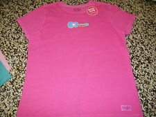 Life is Good T-Shirt Girls Loose Guitar Rouge Pink Shirt Size Small