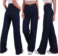 Damen Mom Jeans Marlene Schlaghose Bootcut High Waist weites Bein Denim Blue A6