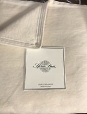 Sferra Chalet Queen Full Blanket 100% Brushed Cotton Super Plush Ivory Beige New