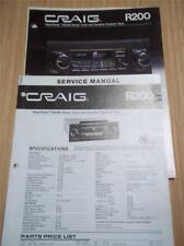 Craig Service Manual~R200 Car Radio/Cassette~Original Repair Manual