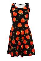 Women's Cute Strawberry Print Fit & Flared Sleeveless Skater Dress