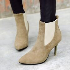 Ladies Pull On Pointed Toe Ankle Boots Suede Stilettos Chelsea Fashion Shoes