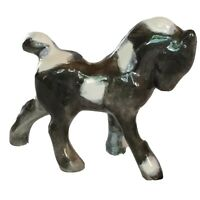 "Vintage Ceramic Pony Colt Horse Hand Painted Black White Marked PC 4"" Tall"
