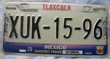 COLLECTABLE  Expired 1 License Plate   TLAXCALA MEXICO  2000´S  # XUK-15-96
