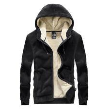 Mens Hooded Fur Lined Jacket Suede Short Coats Long Sleeve Warm Zipper Outerwear