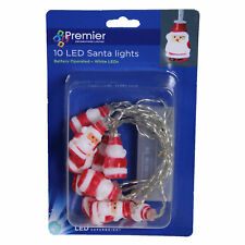 Christmas Decoration 10 Santa LED Battery Lights on Clear Cable