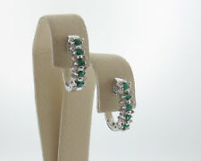 Natural Green Emeralds Diamonds Solid 18k White Gold Huggie Hoop Earrings
