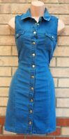 SELECT BLUE ALL BUTTONED COTTON DENIM JEANS T SHIRT SLEEVELESS BODYCON DRESS 8 S