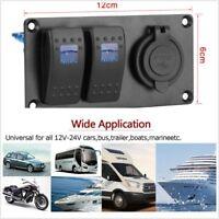 2 Gang Blue LED Rocker Switch Panel 3.1A Dual USB Port 12-24V Car Marine Boat