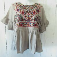 New Umgee Top M Medium Gray Floral Embroidered Ruffle Sleeve Boho Peasant