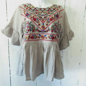 New Umgee Top L Large Gray Floral Embroidered Ruffle Sleeve Boho Peasant