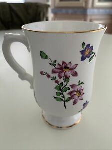 Royal Victoria Fine Bone China Coffee Mug Cup Purple Flowers England