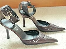 SCHUH STUNNING DARK BROWN LEATHER POINTED STILETTO SHOES SIZE 4/37 USED