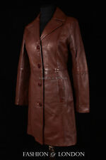 Ladies MIDDLETON Leather Coat Brown Wax Classic Formal Long Leather Jacket 3457