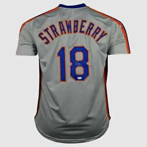 DARRYL STRAWBERRY  SIGNED  CUSTOM  XL NEW YORK  GREY JERSEY, PSA COA #9A13845