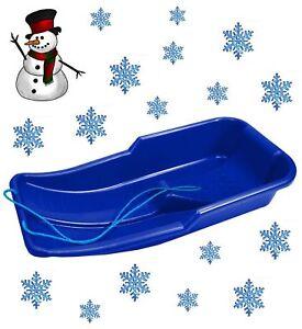 KIDS HEAVY DUTY SNOW SLEDGE TOBOGGAN SLEIGH SLED ROPE PLASTIC ADULTS SKI BOARD