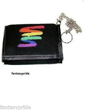 Gay Pride Rainbow squiggle Tri-Fold Wallet with chain - New
