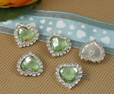 10 X Rhinestone Light Green Acrylic Gem Silver Heart Button Embellishments Craft