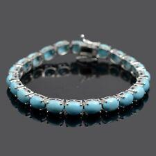 100% Natural Arizona Turquoise Gemstone Sterling 925 Silver Tennis Bracelet