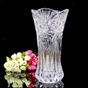 Crystal Clear Flower Vase Cut Glass Thicken Design Tabletop Home Decor Ornaments