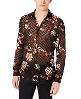 INC Mens Shirt Black Size Medium M Button Up Floral Jacquard Sheer $69 #426