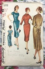 """1950's Vintage Sewing Pattern Simplicity 1772 Misses One Piece Dress Bust 32"""""""