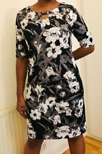 Brand New Annabelle Black / Grey / White Floral Midi Dress Size 12 - 20 RRP £40