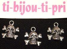 LOT de 6 PENDENTIFS ARGENTES perles breloques TETE DE MORT SKULL création bijoux