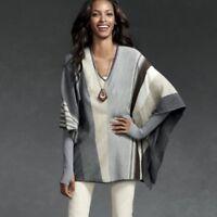 CAbi Womens Small Horizon Poncho Sweater Stripe Dolman Sleeve VNeck #909