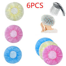 Lots 6pcs Women Waterproof Elastic Plastic Dot Shower Bathing Salon Hair Cap Hat