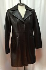 Kenneth Cole Leather Coat Jacket Womens Small Chocolate Brown Dress Coat Casual